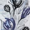 Abstrakta Blommor Tyg Blå