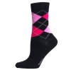 Ladies Sock Argyle Svart/rosa