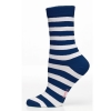 Ladies Sock Block Stripe Marinblå