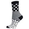 Ladies Sock Dots Stripes Svart