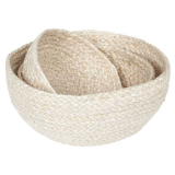 Braided Brödkorg Jute Vit 3 Set