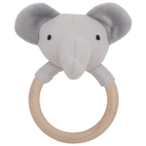 Elefant Skallra Träring Grå