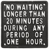Facia No Waiting Skylt Svart