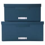 File Lådor Låga 2-set Blå