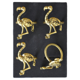 Flamingo Servettring 4-pack Guld