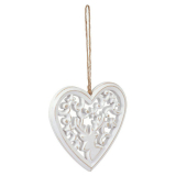 Hjärta Hjort Dekoration Trä Vit