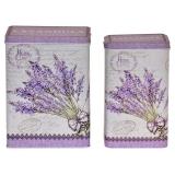Lavendel Plåtburk Fyrkantig Lila 2-Set