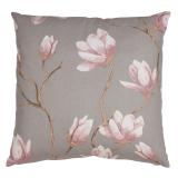 Magnolia Blommigt Kuddfodral Grå