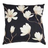 Magnolia Blommigt Kuddfodral Svart