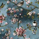 Småfåglar Vaxduk Blå