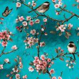 Småfåglar Vaxduk Turkos