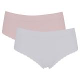 Trosa Seamless Ribbad Rosa/Vit 2-Pack